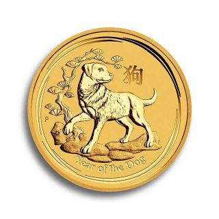 1/4 oz Lunar II Goldmünze Hund 2018