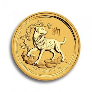 1/2 oz Lunar II Goldmünze Hund 2018