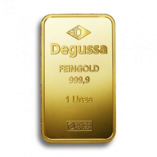 1 oz Degussa Goldbarren
