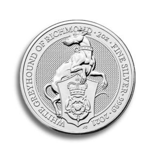 2 oz Queen's Beasts The White Greyhound Silbermünze 2021