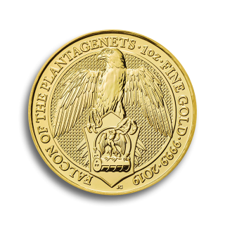 1 oz Queen's Beasts The Falcon of the Plantagenets Goldmünze 2019